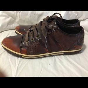 Kenneth Cole Down Load Brown Leather Sneakers